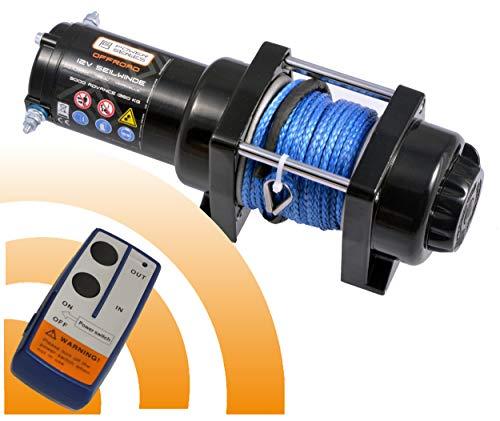 Power Series® 12V Elektrische Seilwinde 3000 Advance mit Funkfernbedienung und Handschalter - Zugkraft 1360 kg (Kunststoffseil/Synthetikseil) / 2720 kg (mit Umlenkrolle)