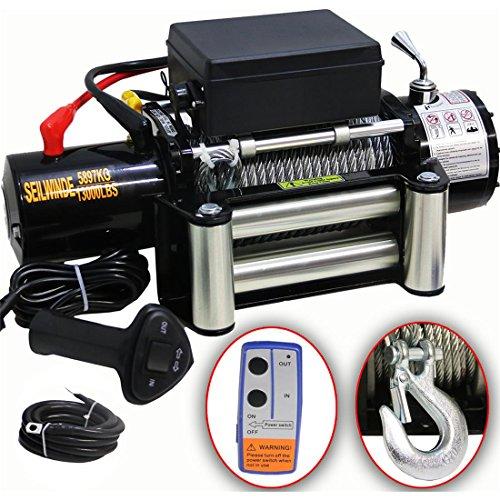 DMS 12V Elektrische Seilwinde 5900 KG Motorwinde Offroad + Funkfernbedienung Winde ESW-03